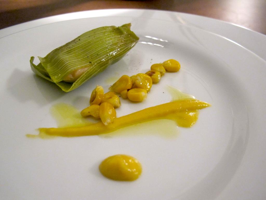 Amuse bouche pollo e pannocchia, Antonello Colonna Vallefredda Resort, Chef Antonello Colonna, Labico