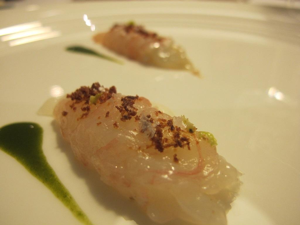 scampi marinati, L'Erba del Re, Chef Luca Marchini, Modena