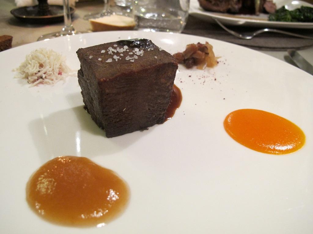 lingua croccante di vitello, El Brite de Larieto, Chef Riccardo Gaspari, Cortina d'Ampezzo