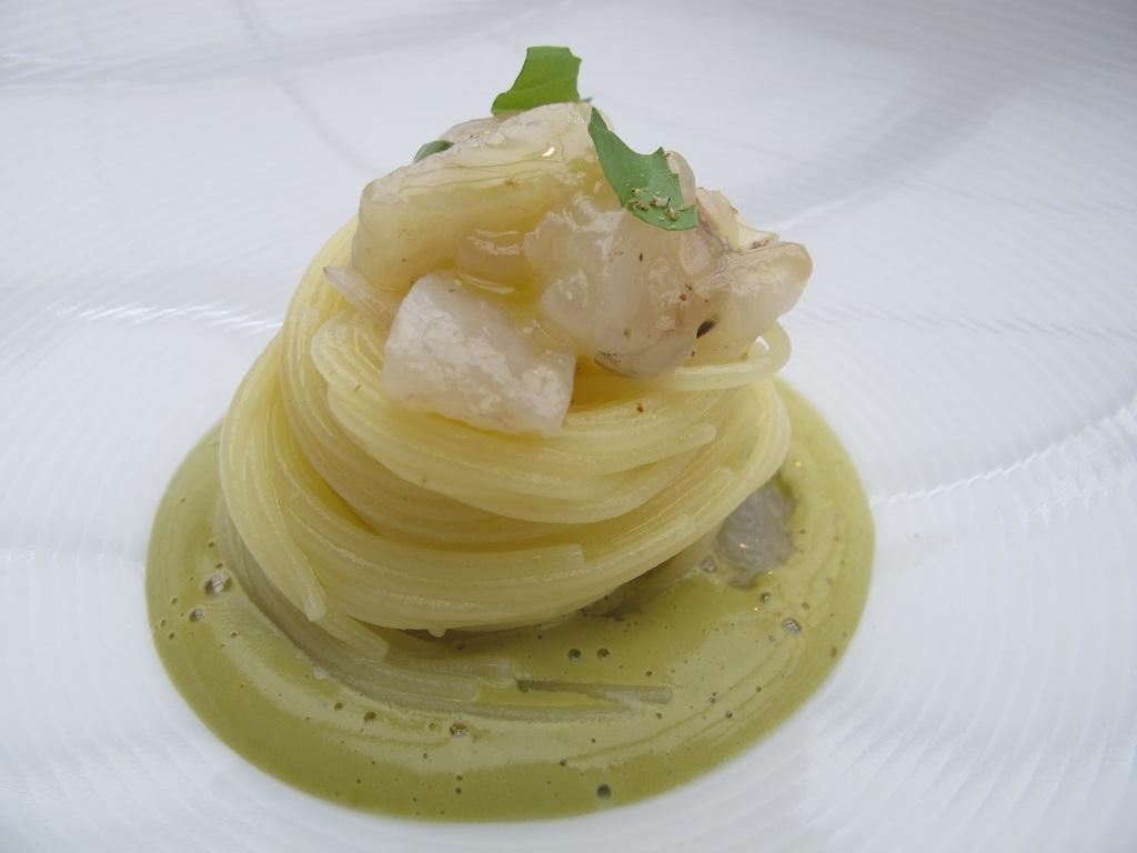 spacchettino freddo con mazzancolla,  Antica Osteria da Cera, Chef Lionello Cera, Lughetto di Campagna Lupia, Venezia