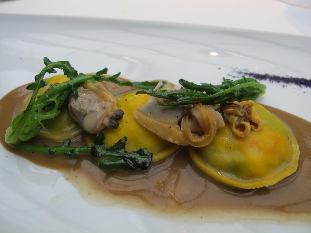 raviolo di broccolo,  Antica Osteria da Cera, Chef Lionello Cera, Lughetto di Campagna Lupia, Venezia