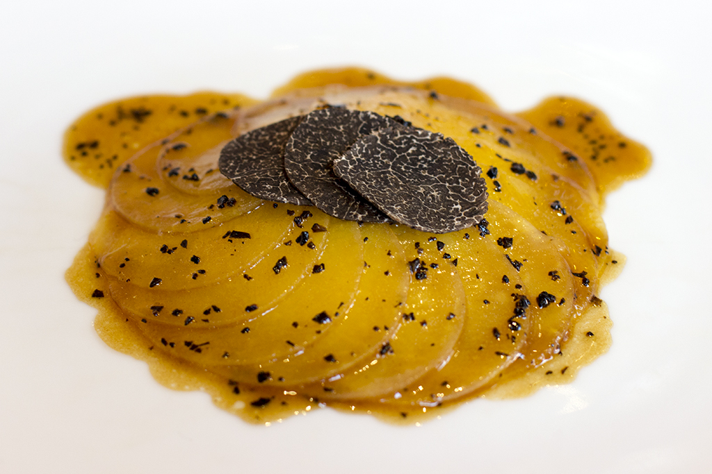 Rape gialle in cassoeula, Piazza Duomo, Chef Enrico Crippa, Alba