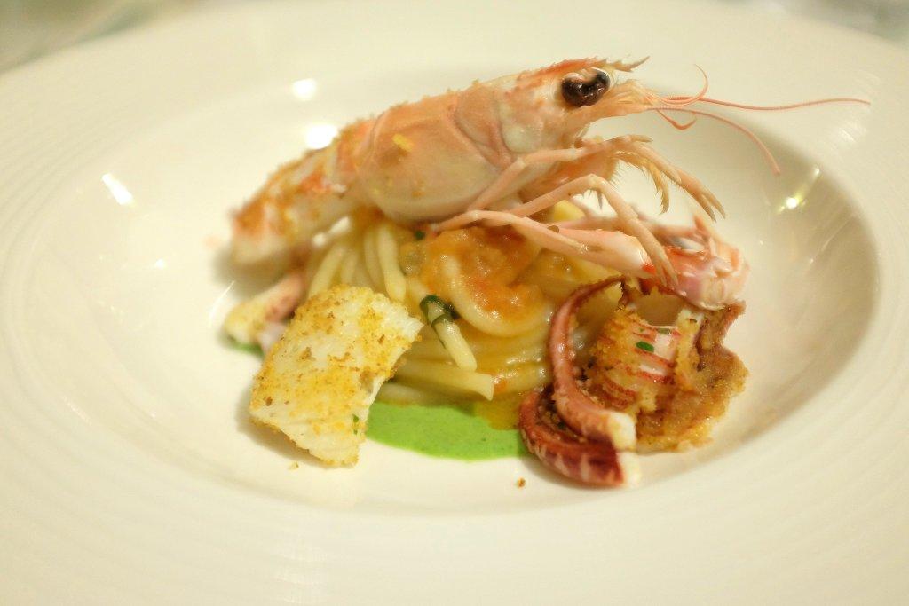 Spaghetto con pesto trapanese, Duomo, Chef Ciccio Sultano, Ragusa Ibla