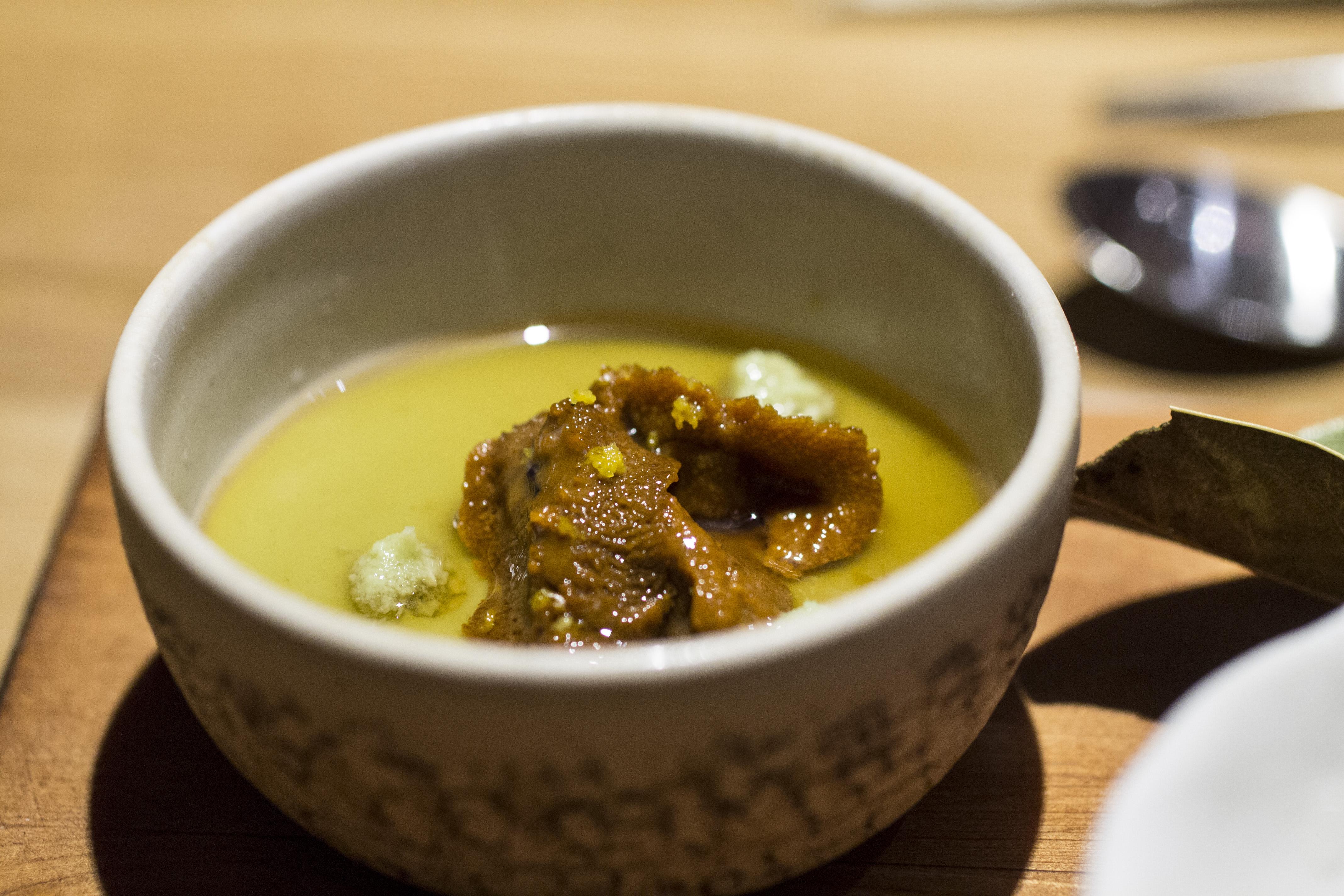 Tofu di avocado con ricci di mare, Pakta, Chef Albert Adrià, Kyoko li, Barcelona