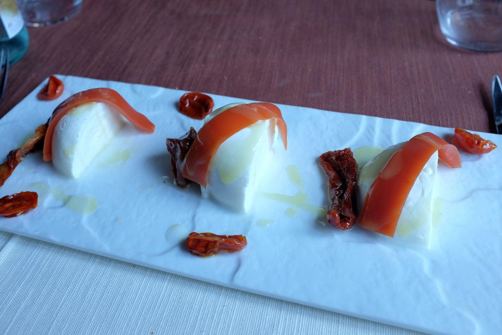 mozzarella e tre pomodori, 3UNO Ristorante, Chef Claudio Santin, Oleggio