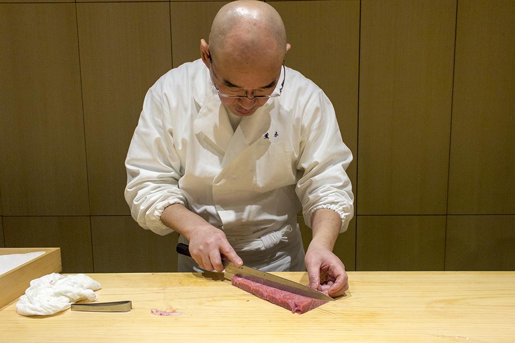 Porzionatura del tonno, The Araki, Chef Mitsuhiro Araki, London