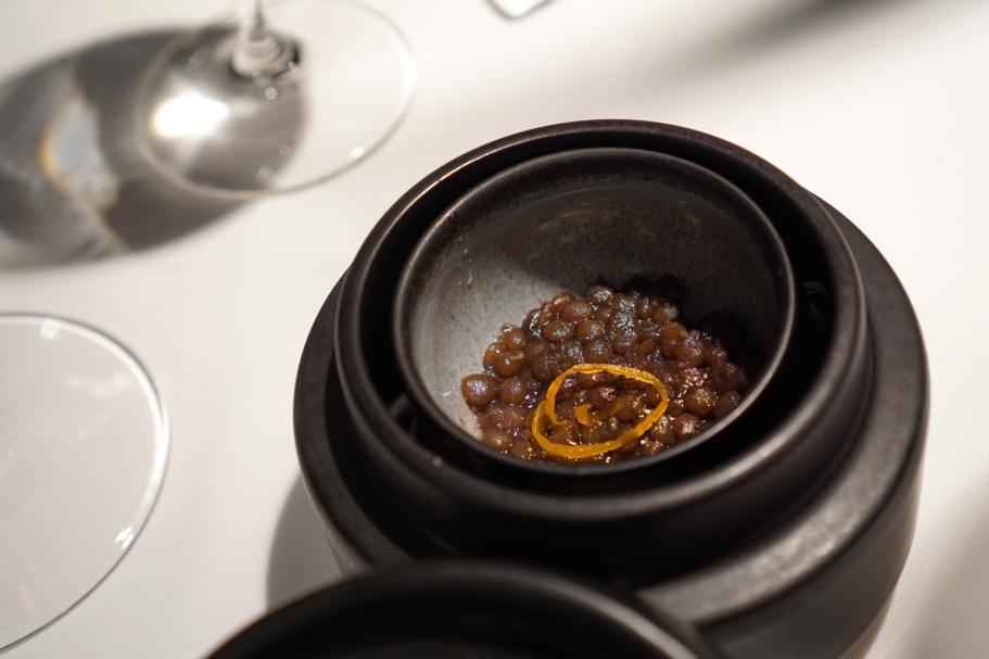 lenticchie caramellate, Régis et Jacques Marcon, Saint Bonnet le Froid, France