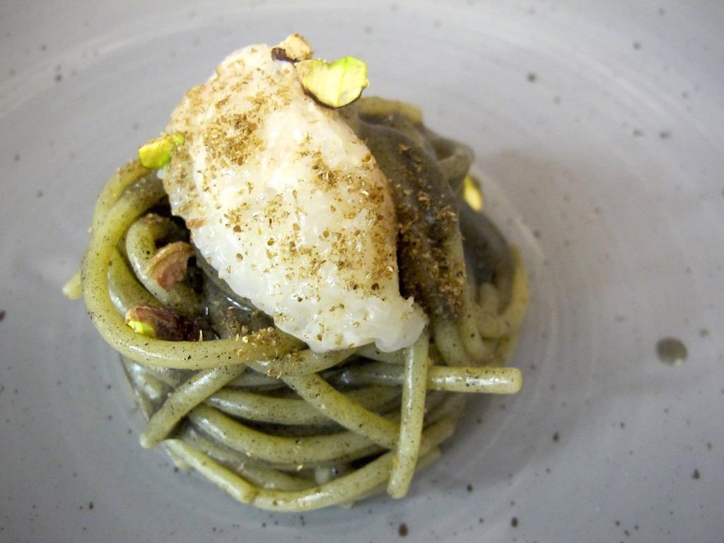 spaghetto con salsa di melanzane, Osteria Fernanda, Chef Davide Del Duca, Roma