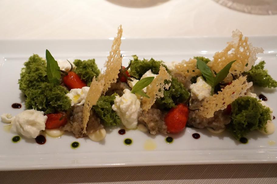 Insalata di Melanzane alla parmigiana, Perbellini, Chef Francesco Baldissarutti, Isola Rizza, Verona