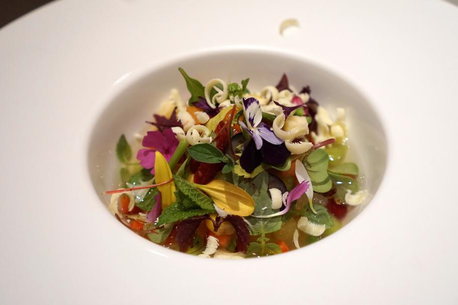 Minestra di frutta e verdura, Piazza Duomo, Chef Enrico Crippa, Alba