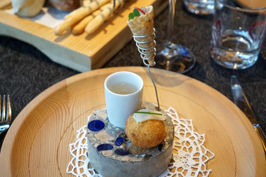 crocchetta di polenta, L'Chimpl, Chef Stefano Ghetta, Hotel Gran Mugon, Tamion ,Vigo di Fassa