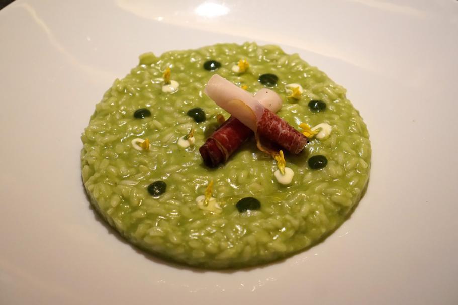 Risotto con speck, L'Chimpl, Chef Stefano Ghetta, Hotel Gran Mugon, Tamion ,Vigo di Fassa