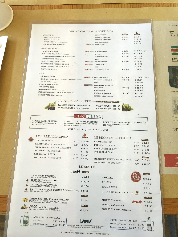 carta, Osteria, Eataly, Puglia