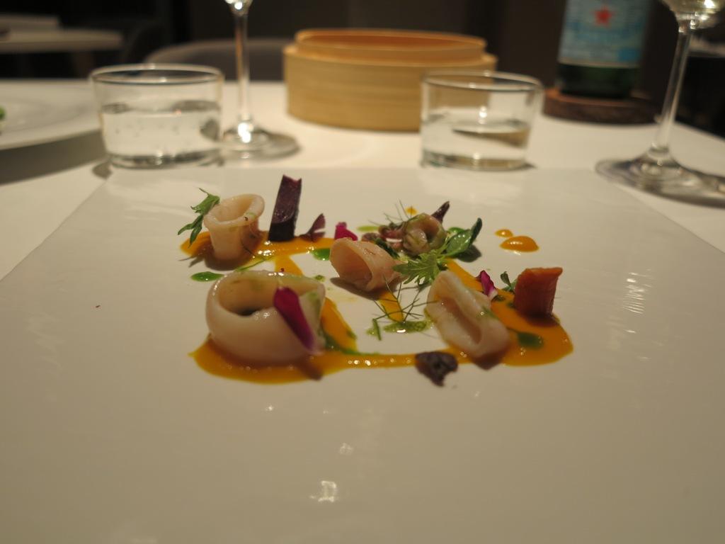 Calamari carote zenzero, La Maniera di Carlo, Chef Francesco Germani, Milano