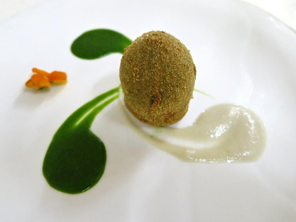 uovo di carciofo, La Trota, Chef Sandro e Maurizio Serva, Rivodutri, Abruzzo