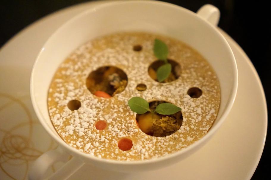 Crostatina inversa, Dopolavoro Dining Room, Chef Federico Belluco, Giancarlo Perbellini, Isola delle Rose, Venezia