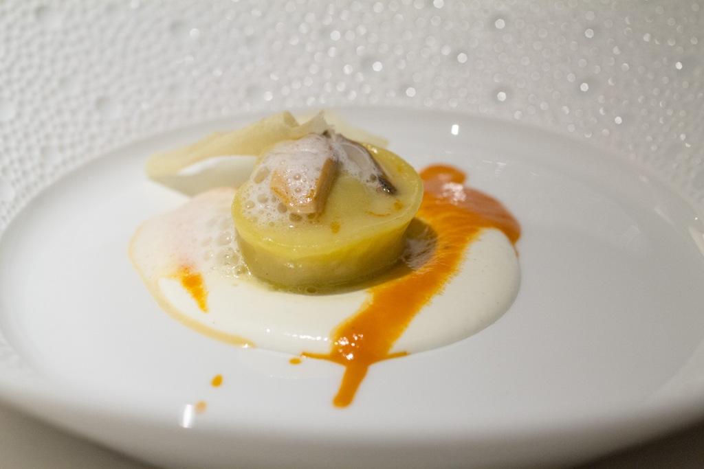 raviolo farcito di Hummus, Seta, Chef Antonio Guida, Mandarin Oriental, Milano