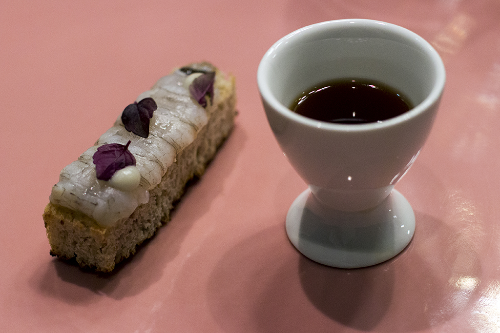 bruschetta di canocchie, Tokuyoshi, Chef Yoji Tokuyoshi, Milano