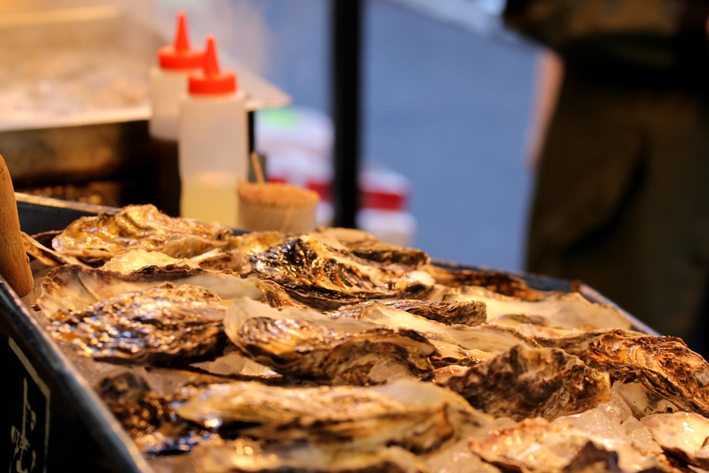 ostriche grigliate, Tsukiji Market – Daiwa Sushi, Tokyo