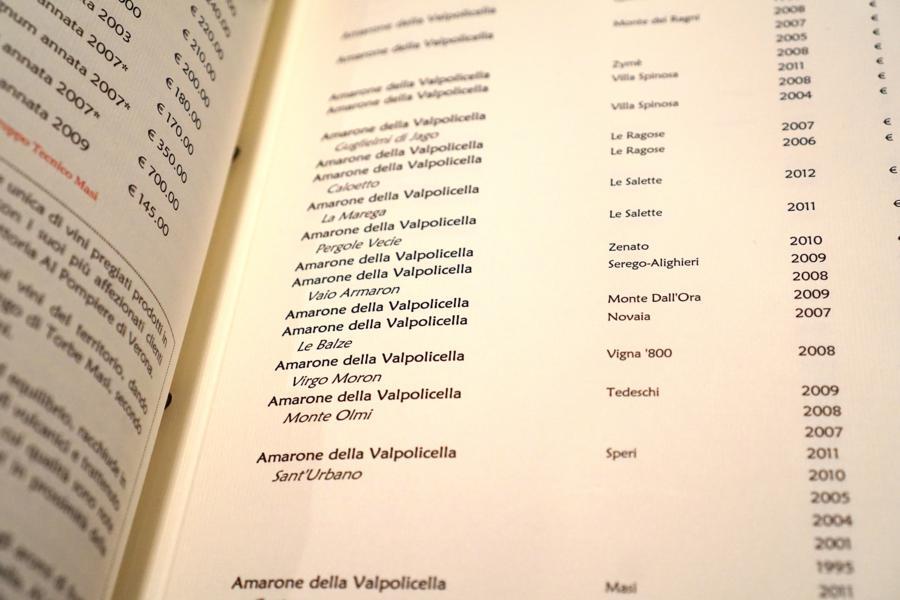 carta vini, Al Pompiere, Chef Marco Dandrea, Verona