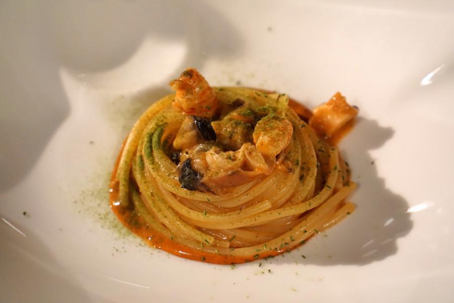 spaghetto con gambero, Vicari, Chef Salvatore Vicari, Noto, Siracusa