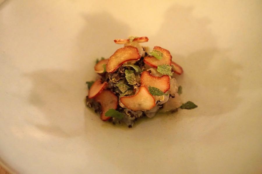insalata di persico, Aga, chef Oliver Piras e Alessandra Del Favero, San Vito di Cadore