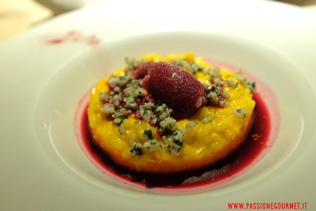 Le Calandre: riso giallo con gremolata di anguilla