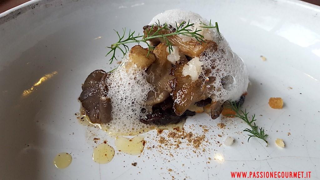 La Grenouillere: Fungo ostrica e trombetta dei morti, noci e sedano rapa